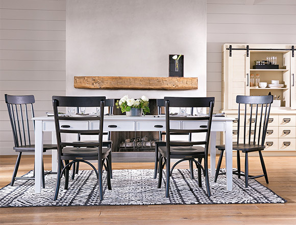 Country Rustic Dining Room With Magnolia Home Keeping Table