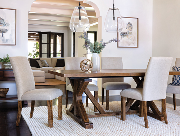 Coastal dining room with chandler dining set