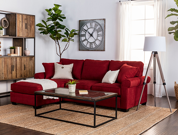 Country/rustic Living room with taren sofa