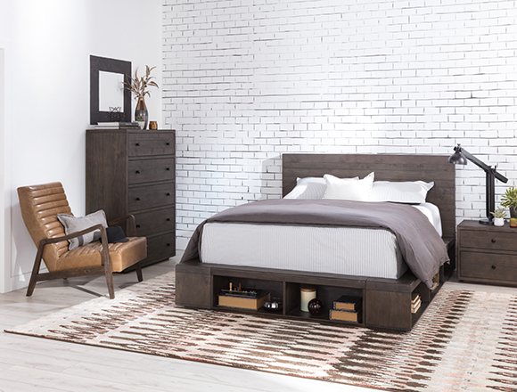 industrial bedroom with dylan bed