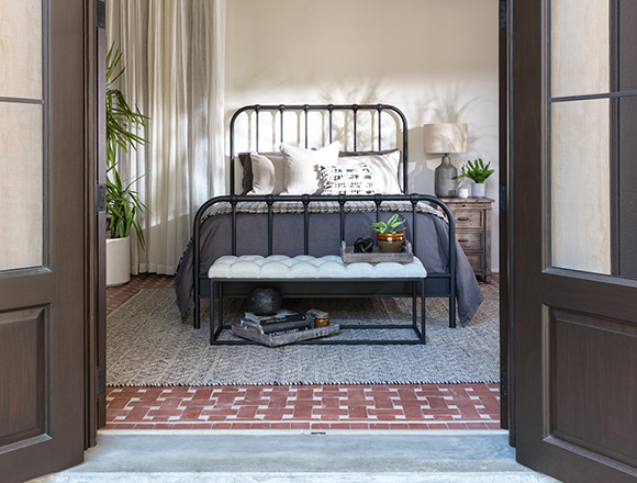 industrial bedroom with Knox bed