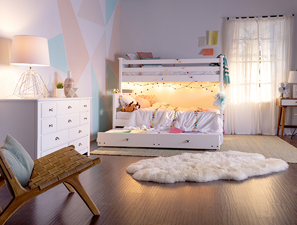 Transitional Kids room with summit bed