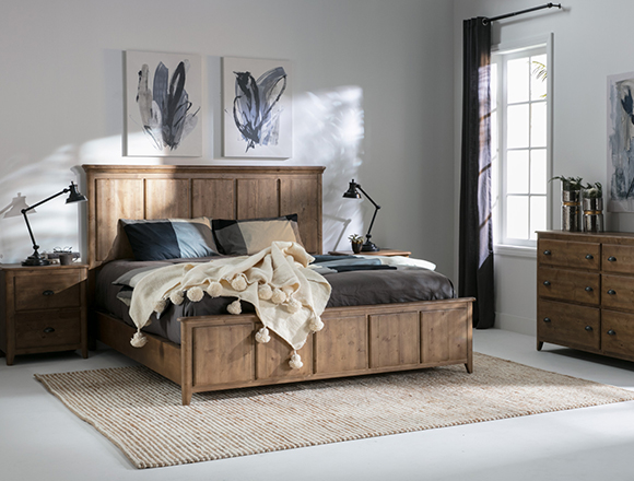 transitional bedroom with Mallory bed