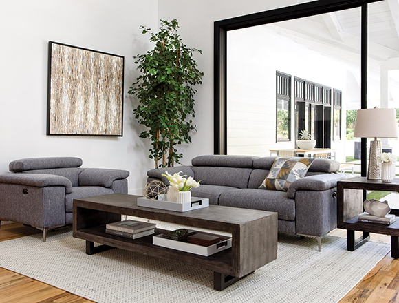 transitional Living room with Talin sofa