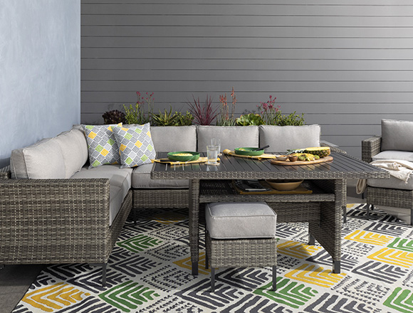 transitional patio backyard with hayes outdoor banquette lounge with 2 ottomans