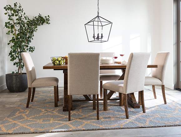transitional dining room with chandler dining set