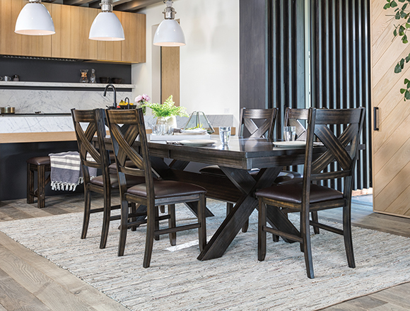transitional dining room with pelennor dining set