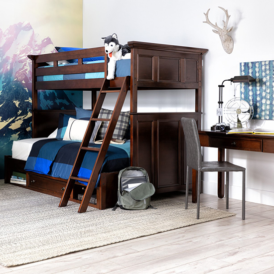 kids bedroom ideas - bunk bed and storage ottoman