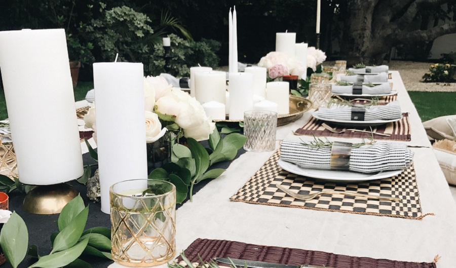 table decor - candles, plate mat, plates
