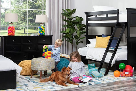 kids room with toys and dog