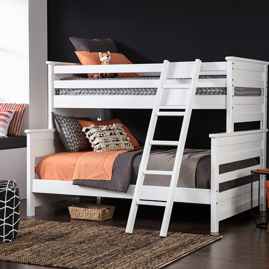 white bunk and loft beds