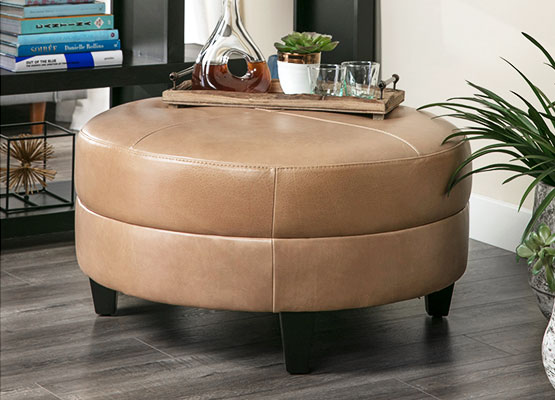 leather brown ottoman