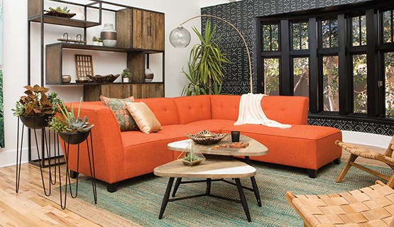 mid-century modern style orange sectional