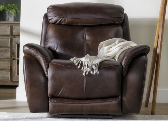chocolate bryce leather accent chair