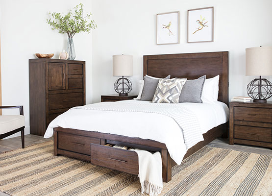 chocolate riley queen panel bed