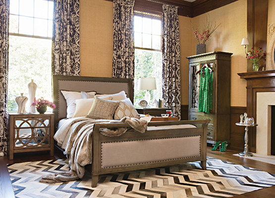 relaxing bedroom with nailhead trim