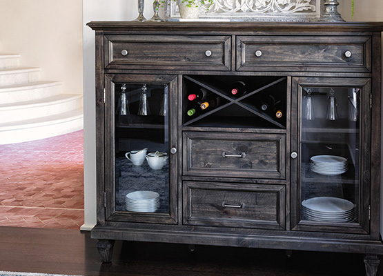 decorate a wood buffet server