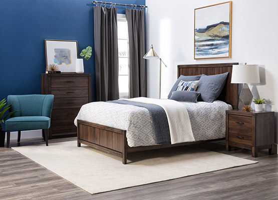 dream in color blue + brown bedroom