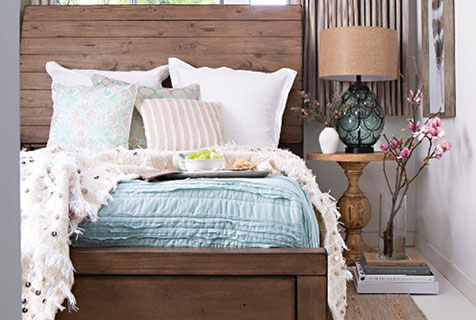 farmhouse fresh blue + brown bedroom