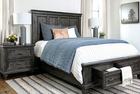 phòng ngủ màu xanh lam + nâu