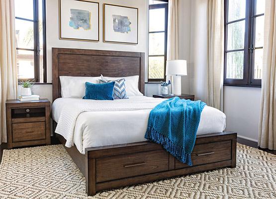 phòng ngủ màu xanh + nâu tương phản cao