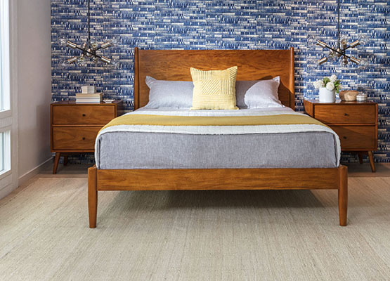 mid-century blue + brown bedroom