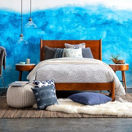 blue + brown bedroom
