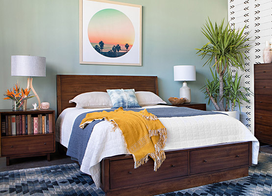 sunrise blue + brown bedroom