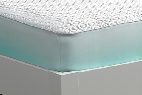 white fabric cal king mattress protector