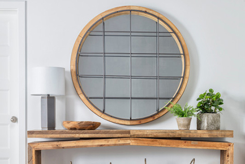 wall mirror with wood