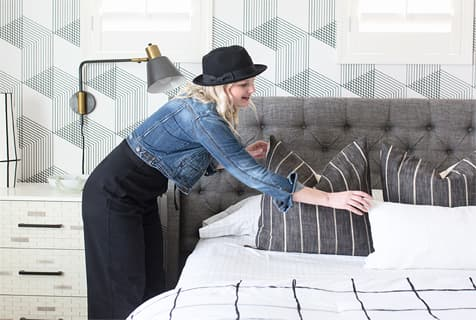 Geometric Accent Wall Grey Bed