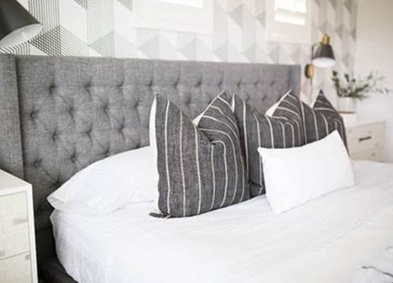 Grey upholstered bed Grey Striped Pillows