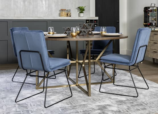 blue dining set