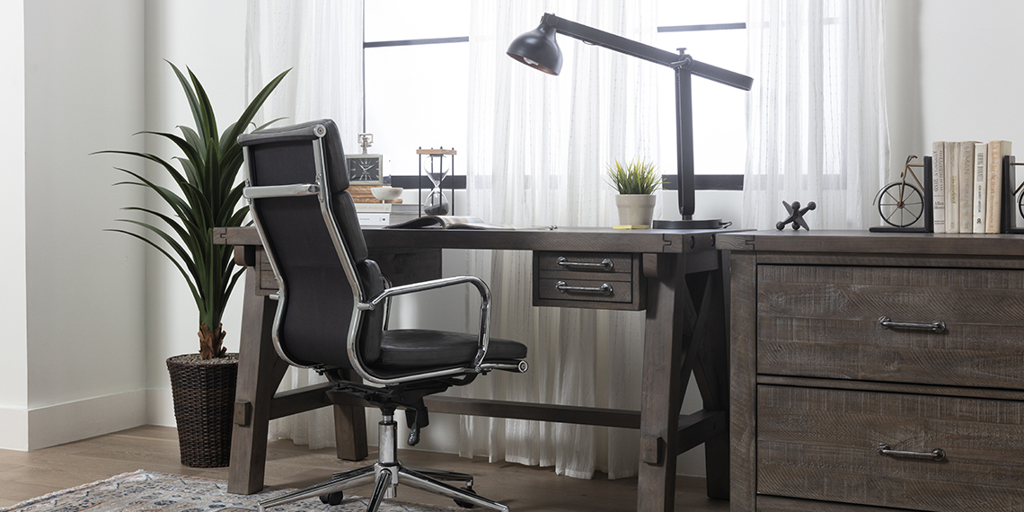 Industrial Home Office with Jaxon Grey Desk