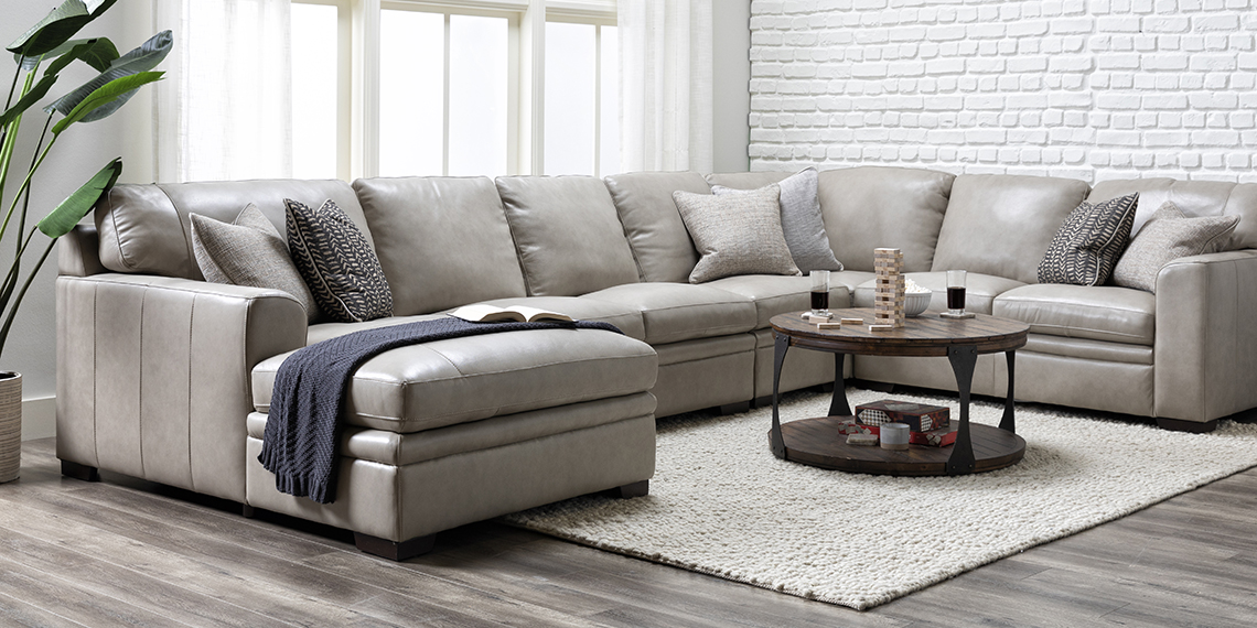 Transitional Bachelor Pad with Greer Stone Leather 4 Piece Sectional