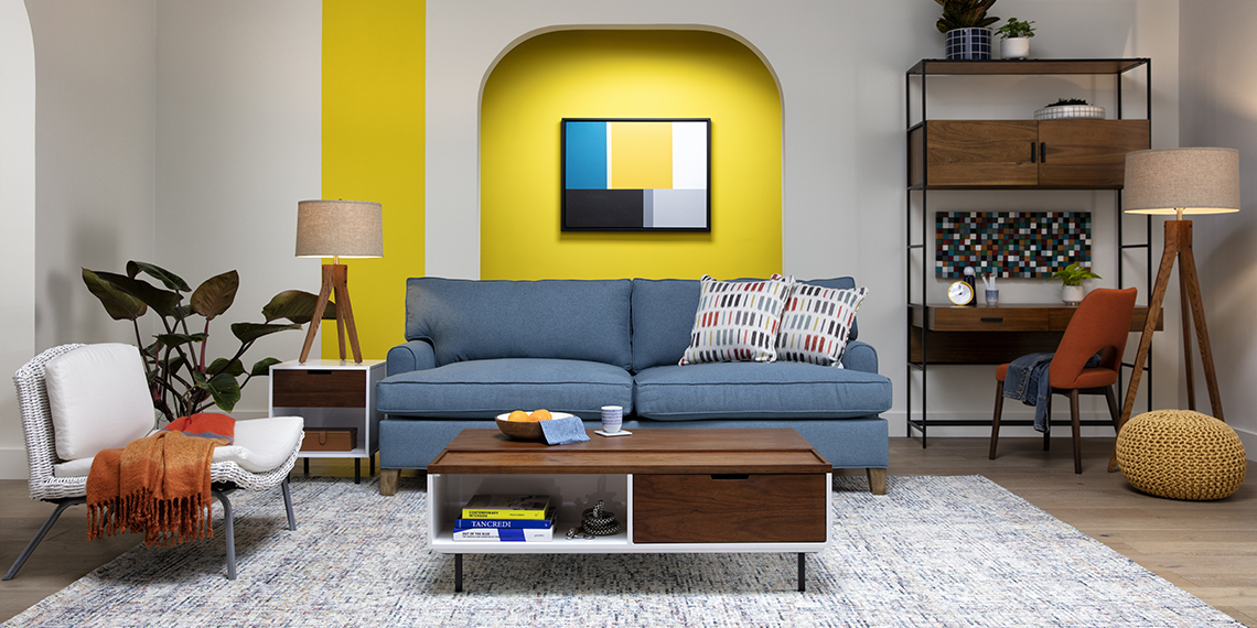 Mid-Century Small Apartment Living Room with Emerson II Sofa