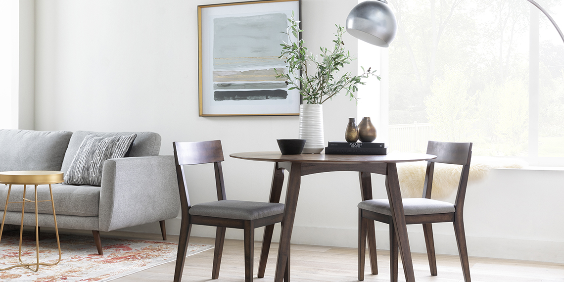 Transitional Small Apartment Dining Room with Rogers Round Dining Table