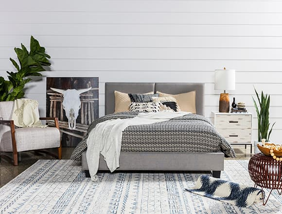 boho Bedroom with Rylee Queen Upholstered Panel Bed