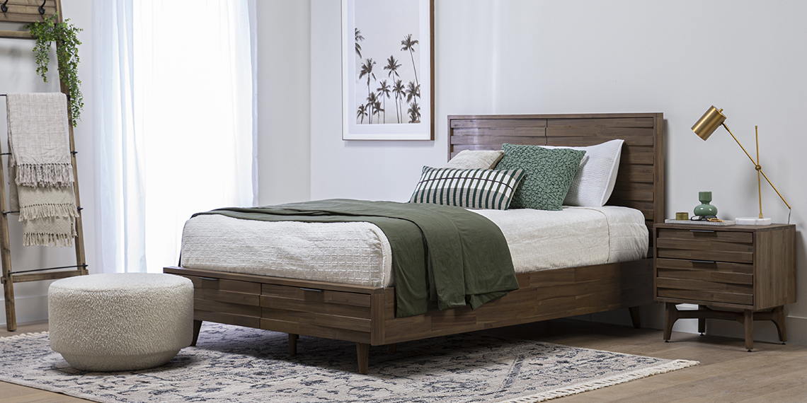 boho Bedroom with Caleb Queen Platform Bed With Storage