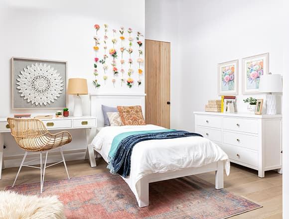 boho Bedroom with Larkin White Twin Panel Bed With Storage