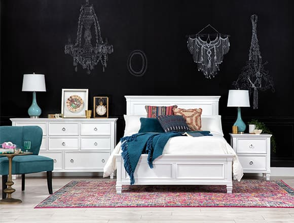 boho Bedroom with Albany Full Panel Bed