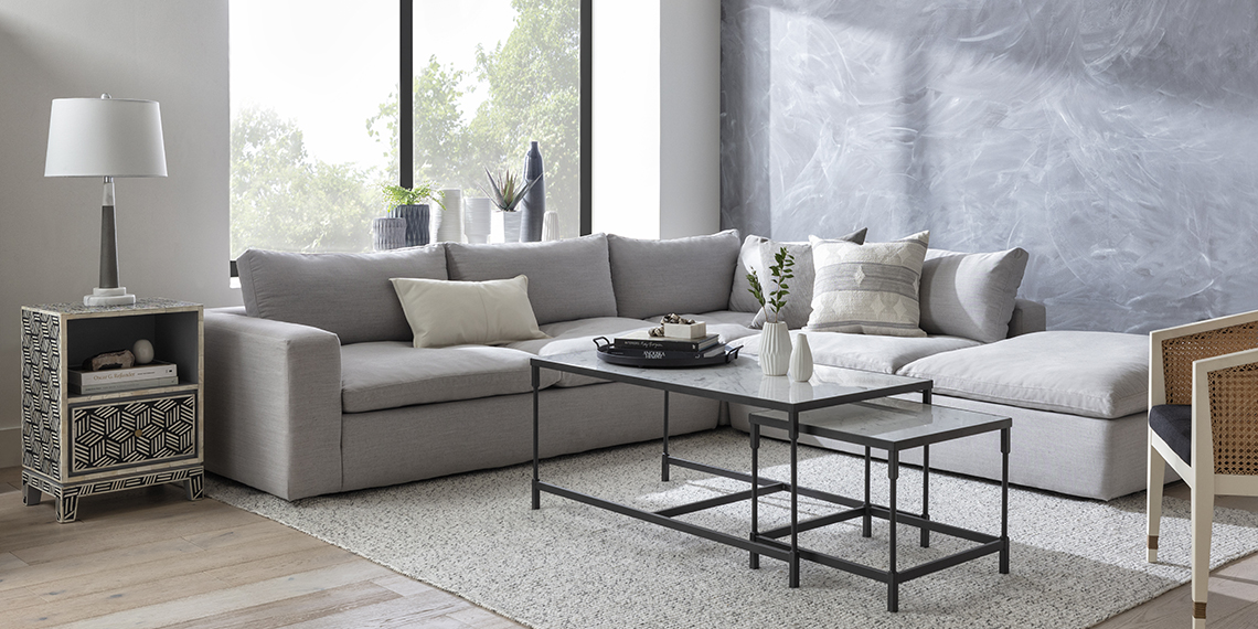 boho Living Room with Utopia 3 Piece Sectional With Right Facing Bumper Chaise