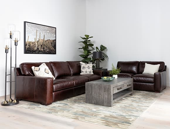 boho Living Room with Stout Leather Sofa