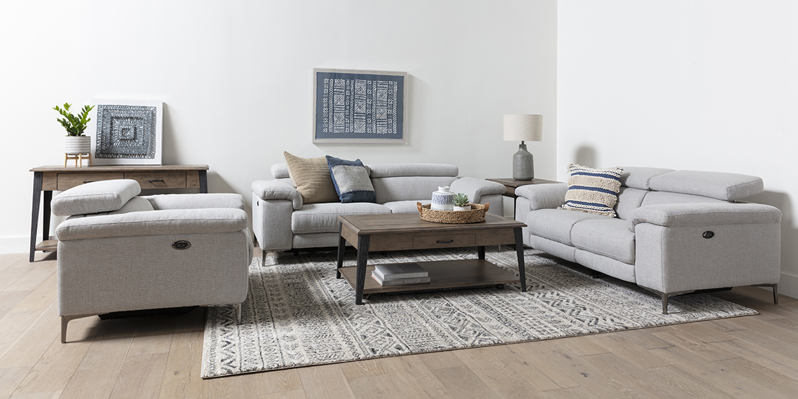 boho Living Room with Talin Linen Power Reclining Sofa With Usb