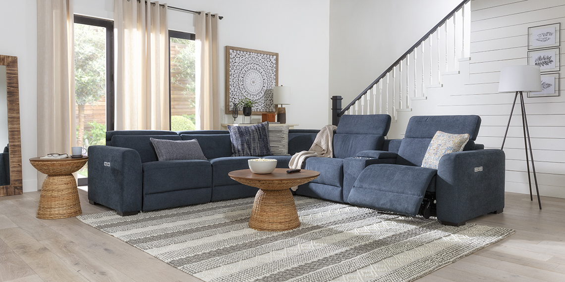 boho Living Room with Chanel Denim 6 Piece 132