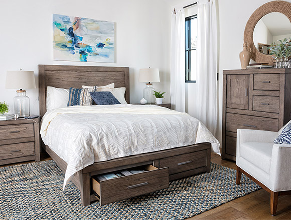 coastal Bedroom with Riley Greystone Queen Panel Bed W/Storage