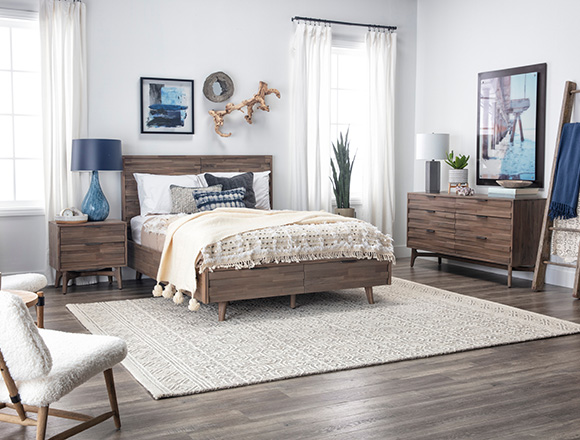 coastal Bedroom with Caleb Queen Platform Bed With Storage
