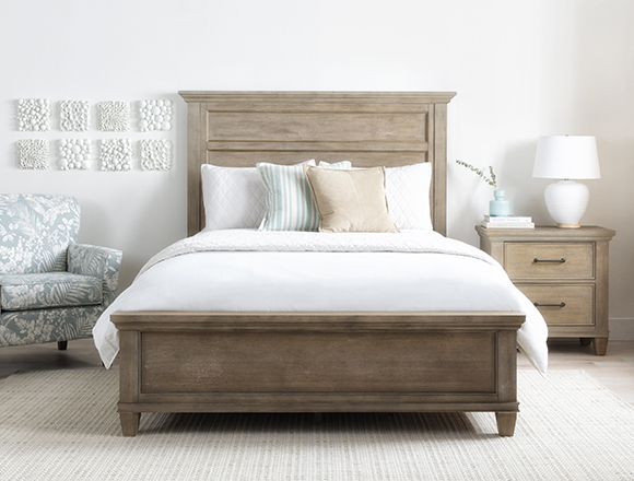 coastal Bedroom with Meridian Eastern King Panel Bed