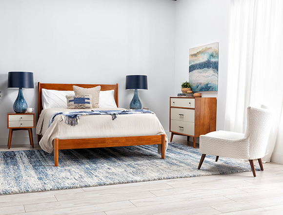 coastal Bedroom with Alton Cherry Queen Platform Bed