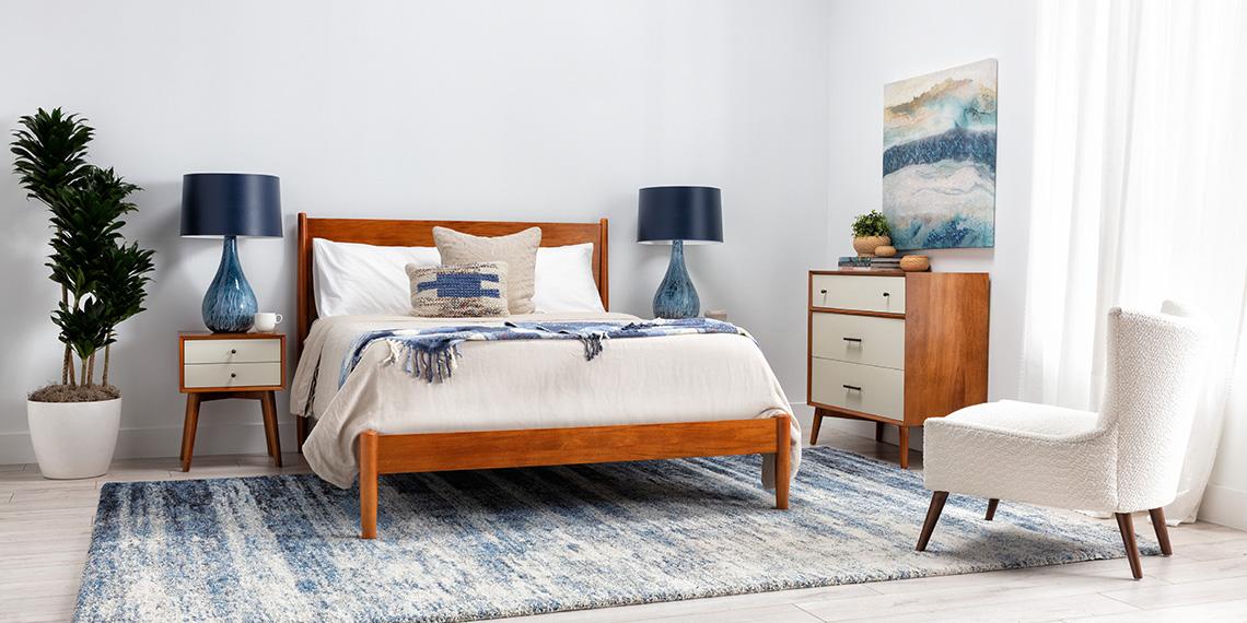 Mid Century Modern Coastal Bedroom With